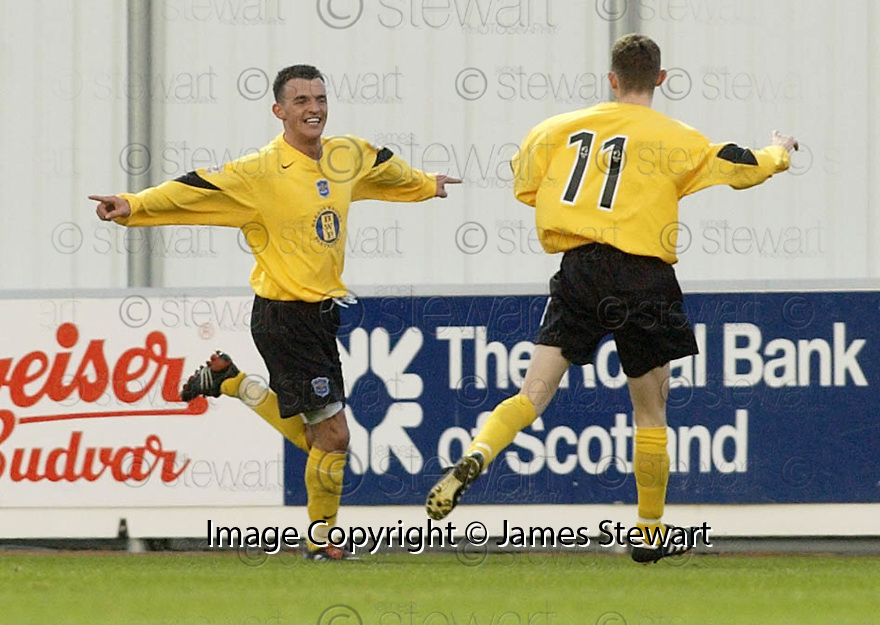 18/12/2004  Copyright Pic : James Stewart.File Name : jspa14_falkirk_v_qots.DEREK LYLE CELEBRATES SCORING QUEEN OF THE SOUTH'S FIRST.....Payments to :.James Stewart Photo Agency 19 Carronlea Drive, Falkirk. FK2 8DN      Vat Reg No. 607 6932 25.Office     : +44 (0)1324 570906     .Mobile   : +44 (0)7721 416997.Fax         : +44 (0)1324 570906.E-mail  :  jim@jspa.co.uk.If you require further information then contact Jim Stewart on any of the numbers above.........