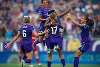 Orlando, FL - Sunday June 26, 2016: Orlando Pride celebrates scoring, Jasmyne Spencer  during a regular season National Women's Soccer League (NWSL) match between the Orlando Pride and the Portland Thorns FC at Camping World Stadium.