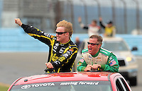 Aug. 8, 2009; Watkins Glen, NY, USA; NASCAR Nationwide Series driver Steve Wallace (left) with Kenny Wallace prior to the Zippo 200 at Watkins Glen International. Mandatory Credit: Mark J. Rebilas-