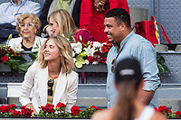 Ronaldo Nazario with his wife during the ATP final of Mutua Madrid Open Tennis 2017 at Caja Magica in Madrid, May 14, 2017. Spain. /NortePhoto.com