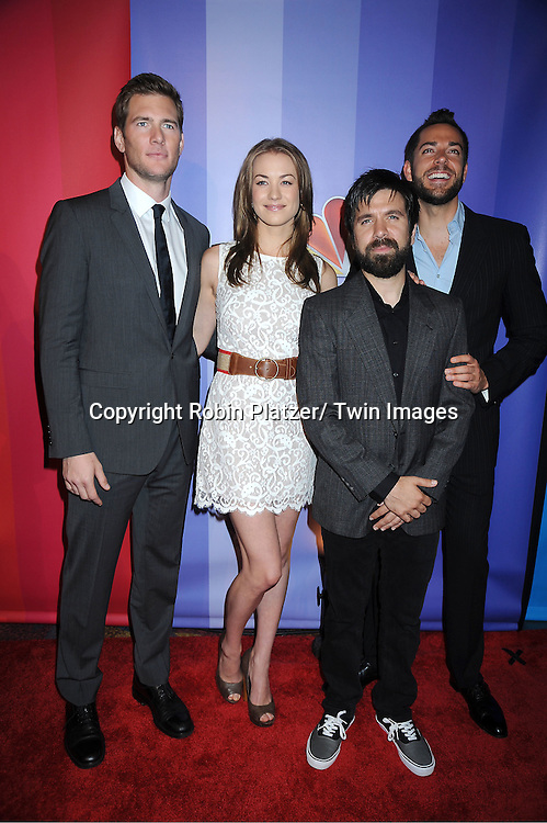 "Ryan McPartlin and Yvonne Strahovski, Joshua Gomez and Zachary Levi of ""Chuck"" attending The NBC Upfront Presentation of the 2011-2012 Primetime Season on May 16, 2011 at The New York Hilton in New York City."