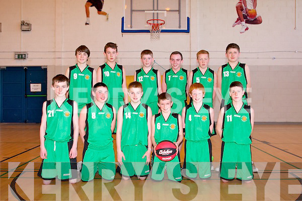 Southwest Regional A boys basketball finals at Mercy Mounthawk Sports Hall on Thursday. Pictured Rathmore front l-r Colm O'Mahony, Niall O'Connor, Evan Cronin, Larkin Keane, Anthony Carmody, Denis O'Connor. Back l-r  Gearoid Looney, Sean Clifford, Cathal Collins, Jamie O'Sullivan, Donal Hurley and Cathal McCarthy