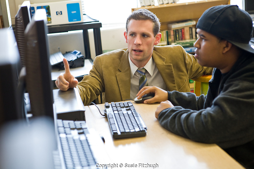 Sam Reed and his students work on Web Design at Chief Sealth High School.
