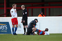 Injury concern for Myles Weston of Dagenham during Dagenham & Redbridge vs Stockport County, Vanarama National League Football at the Chigwell Construction Stadium on 8th February 2020