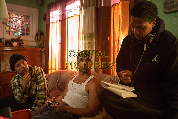 School Dance (2014) <br /> Efren Ramirez (left), Wilmer Valderrama (center) and director Nick Cannon (right) on the set of  <br /> *Filmstill - Editorial Use Only*<br /> CAP/KFS<br /> Image supplied by Capital Pictures