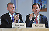 Tom Suozzi, a Democratic candidate vying for the 3rd Congressional District, right, is introduced at a party debate at Great Neck House on Tuesday, May 17, 2016. Seated alongside him is candidate Steve Stern.