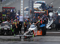 Jul 24, 2016; Morrison, CO, USA; Crew members with NHRA top fuel driver Clay Millican during the Mile High Nationals at Bandimere Speedway. Mandatory Credit: Mark J. Rebilas-USA TODAY Sports