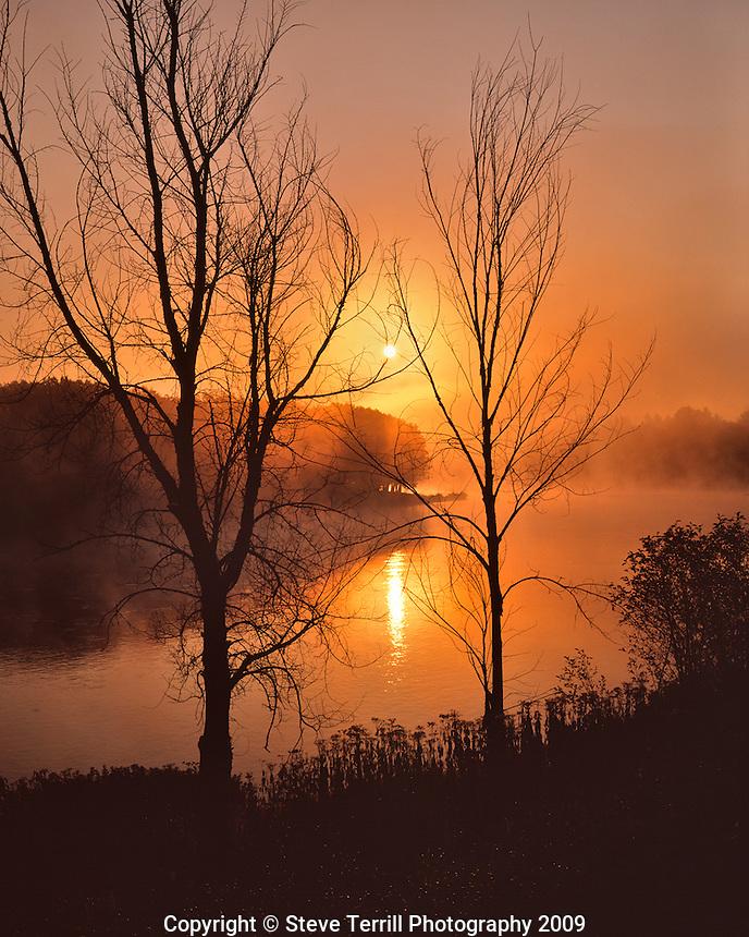 Sunrise over the Kennebec River near Solon Maine
