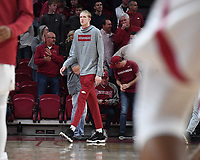 NWA Democrat-Gazette/J.T. WAMPLER Arkansas sophomore Connor Vanover walks onto the court Monday Nov. 5, 2019 before the Razorbacks' regular season opener against Rice at Bud Walton Arena in Fayetteville. Vanover was denied a waiver from the NCAA to transfer this season and will redshirt the 2019-20 season and have three years of eligibility remaining.