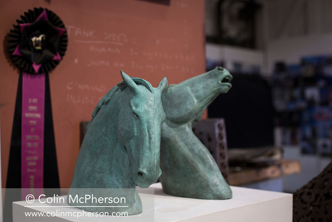 NOT FOR PUBLICATION WITHOUT PRIOR AGREEMENT OF FEES. NO ARCHIVING OR SYNDICATION PERMITTED.<br /> <br /> Miscelleneous materials belonging to Scottish sculptor Andy Scott, at his workshop in Maryhill, Glasgow, where he is constructing a memorial statue to men who lost their lives in the Scottish steel industry. Scott was best known for his twin horse sculptures entitled the Kelpies, which are located on the Forth and Clyde canal at Falkirk in central Scotland. The memorial to the steel men had a proposed completion date of spring 2015 and will be sited at Ravenscraig in Lanarkshire, on the site of Europe's largest former hot strip mill, which closed in 1992.
