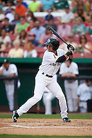 Kane County Cougars second baseman Ildemaro Vargas (2) at bat during a game against the Great Lakes Loons on August 13, 2015 at Fifth Third Bank Ballpark in Geneva, Illinois.  Great Lakes defeated Kane County 7-3.  (Mike Janes/Four Seam Images)