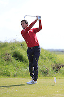 Gerard Dunne (Co. Louth) on the 9th tee during Round 1 of the Irish Amateur Close Championship at Seapoint Golf Club on Saturday 7th June 2014.<br /> Picture:  Thos Caffrey / www.golffile.ie