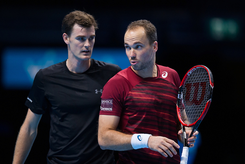 Jamie Murray (GBR - with partner Bruno Soares of Brazil) during their doubles match against Ivan Dodig of Croatia and Marcelo Melo of Brazil <br /> <br /> Photographer Ashley Western/CameraSport<br /> <br /> International Tennis - Barclays ATP World Tour Finals - Day 5 - Thursday 17th November 2016 - O2 Arena - London<br /> <br /> World Copyright &copy; 2016 CameraSport. All rights reserved. 43 Linden Ave. Countesthorpe. Leicester. England. LE8 5PG - Tel: +44 (0) 116 277 4147 - admin@camerasport.com - www.camerasport.com