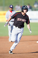 Hunter Jones (1) of the Kannapolis Intimidators rounds the bases after hitting a 2-run home run against the Hagerstown Suns at CMC-Northeast Stadium on May 31, 2014 in Kannapolis, North Carolina.  The Intimidators defeated the Suns 3-2 in game one of a double-header.  (Brian Westerholt/Four Seam Images)