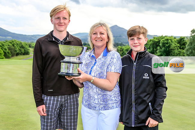 GB &amp; I Team Captain Elaine Farquharson-Black and her sons with the trophy after the Sunday Singles matches at the 2016 Curtis cup from Dun Laoghaire Golf Club, Ballyman Rd, Enniskerry, Co. Wicklow, Ireland. 12/06/2016.<br /> Picture Fran Caffrey / Golffile.ie<br /> <br /> All photo usage must carry mandatory copyright credit (&copy; Golffile | Fran Caffrey)