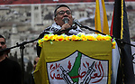 Leader of Fatah movement, Ahmed Helles, speaks during a rally in Gaza City on December 31, 2017, marking the 53rd anniversary of the creation of the political party. Photo by Mohammed Dahman