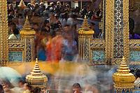 Visitors to the Grand Palace in motion, Bangkok, Thailand