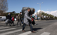 Pictured: Refugees turn up at the Helliniko camp Friday 26 February 2016<br /> Re: Refugees have been turning up at the Helliniko refugee camp in the outskirts of Athens, Greece.