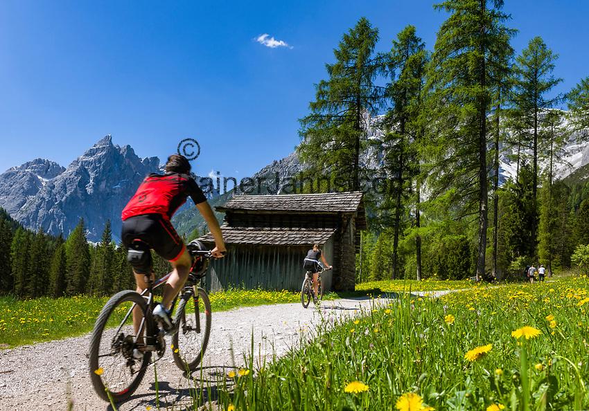 Italy, South Tyrol (Trentino - Alto Adige), near Sexten, district Moos: the picturesque Fischleintal (Val Fiscalina) at Drei Zinnen Nature Park (Parco Naturale Tre Cime), side valley of Sexten Valley (Valle di Sesto) - and Sexten Dolomites (Dolomiti di Sesto) La meridiana di Sesto with summit Einserkofel (Cima Una)   Italien, Suedtirol, bei Sexten, Ortsteil Moos: das malerische Fischleintal im Naturpark Drei Zinnen - ein Nebental des Sextentals - vor den Gipfeln der Sextener Sonnenuhr mit dem Einserkofel