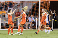 Houston, TX - Saturday July 15, 2017: Andressa Cavalari Machry, Rachel Daly, and Janine Beckie celebrate Andressa's goal during a regular season National Women's Soccer League (NWSL) match between the Houston Dash and the Washington Spirit at BBVA Compass Stadium.