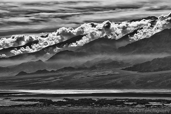 Black and white of clouds trapped over the Panamint Range