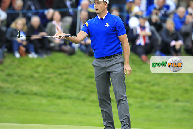 Henrik Stenson (EUR) misses his putt on the 18th green during Sunday's Singles Matches of the Ryder Cup 2014 played on the PGA Centenary Course at the Gleneagles Hotel, Auchterarder, Scotland.: Picture Eoin Clarke, www.golffile.ie: 28th September 2014