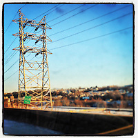 Powerlines sit alongside the Schuylkill Expressway as I am stuck in traffic on the morning of January 23, 2013.