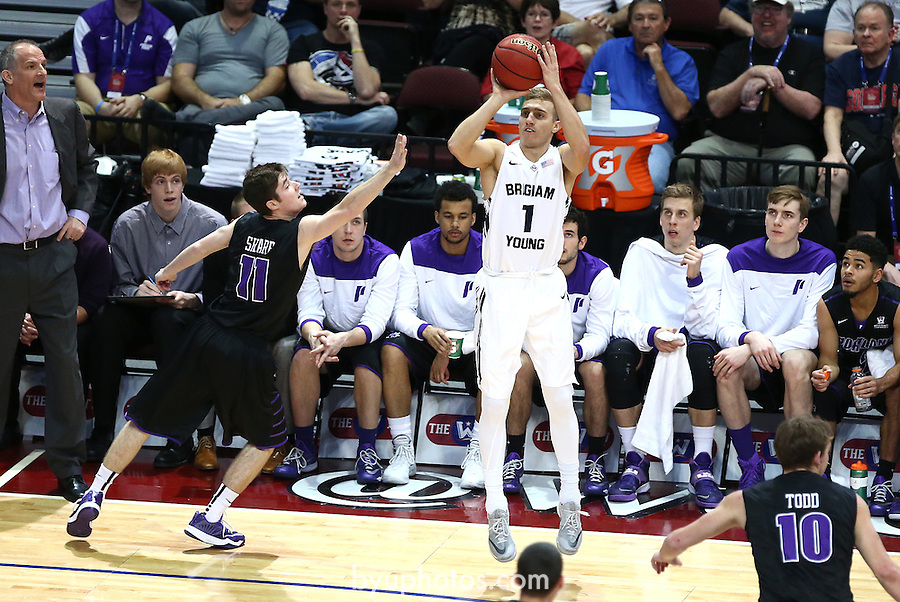 Fischer, Chase MAPB8737<br /> <br /> The BYU Men's Basketball Team defeated Portland 84-70 in the Semi-Final Round of the WCC Conference Tournament at the Orleans Arena in Las Vegas, NV. <br /> <br /> 14-15 BYU Men's Basketball<br /> <br /> March 9, 2015<br /> <br /> Photo by Jaren Wilkey/BYU<br /> <br /> &copy; BYU PHOTO 2015<br /> All Rights Reserved<br /> photo@byu.edu  (801)422-7322