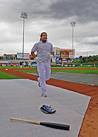 Jun. 23, 2009; Albuquerque, NM, USA; Albuquerque Isotopes outfielder Manny Ramirez warms up prior to the game against the Nashville Sounds at Isotopes Stadium. Ramirez is playing in the minor leagues while suspended for violating major league baseballs drug policy. Mandatory Credit: Mark J. Rebilas-
