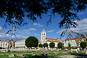 The view towards Saint Mary's Church and Convent, and the Archaeological Museum, from across the ancient Roman Forum, Zadar, Croatia.