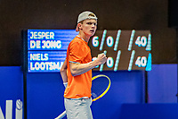 Alphen aan den Rijn, Netherlands, December 18, 2019, TV Nieuwe Sloot,  NK Tennis, Jesper de Jong (NED) at breakpont makes a fist<br /> Photo: www.tennisimages.com/Henk Koster