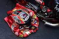 Sept. 14, 2012; Concord, NC, USA: Detailed view of the riding leathers of NHRA pro stock motorcycle rider Matt Smith during qualifying for the O'Reilly Auto Parts Nationals at zMax Dragway. Mandatory Credit: Mark J. Rebilas-