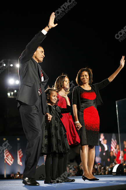 Barack Obama, U.S. president-elect, victory speech and celebration, Grant Park, Chicago, Illinois, November 4, 2008