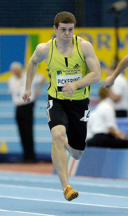 Photo: Richard Lane..Norwich Union Indoor Grand Prix, Birmingham. 17/02/2007. .Great Britain's Craig Pickering in a men's 60m heat.