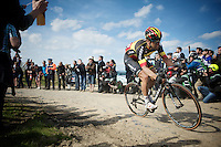 Belgian Champion Jens Debusschere (BEL/Lotto-Soudal) over sector 6A: Bourghelles &agrave; Wannehain (1.1km)<br /> <br /> 113th Paris-Roubaix 2015