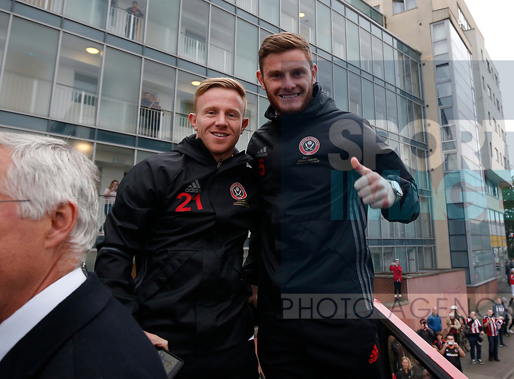 Mark Duffy of Sheffield Utd and Jack O'Connell of Sheffield Utd during the open top bus parade from Bramall Lane Stadium to Sheffield Town Hall, Sheffield. Picture date: May 2nd 2017. Pic credit should read: Simon Bellis/Sportimage