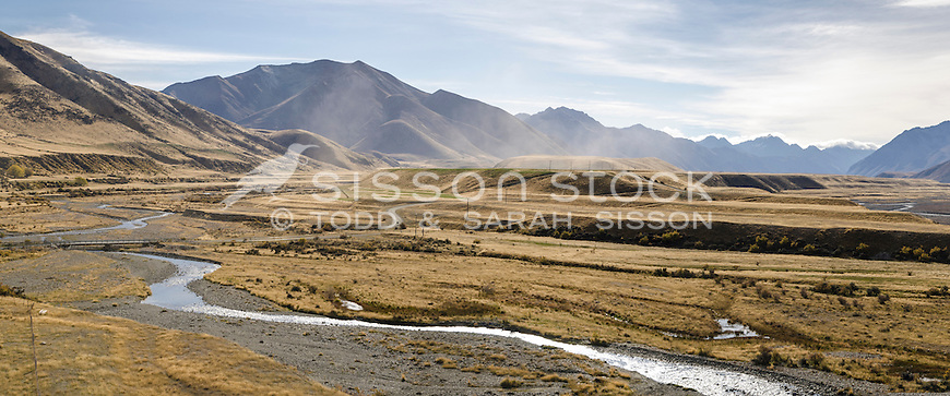 Ahuriri Valley in summer, Canterbury, New Zealand - stock photo, canvas, fine art print