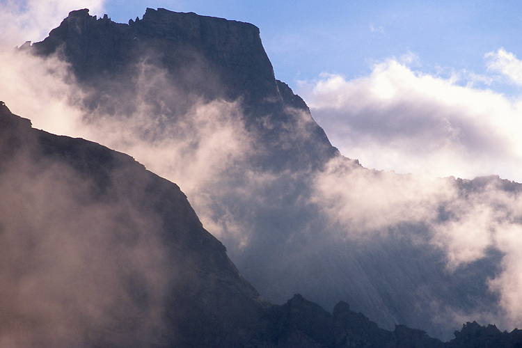 Pizzo Trubinasca (2918 m) at sunset. Bergell, Switzerland, August 2011.