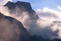 Pizzo Trubinasca (2918 m) at sunset. Bergell, Switzerland, August 2011.