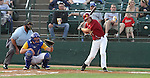 SIOUX FALLS, SD - MAY 26:  Josh Baumgart from Roosevelt looks to drive the ball in the first inning against O'Gorman during the Class A Championship Game Saturday night at the Sioux Falls Stadium. (Photo by Dave Eggen/Inertia)