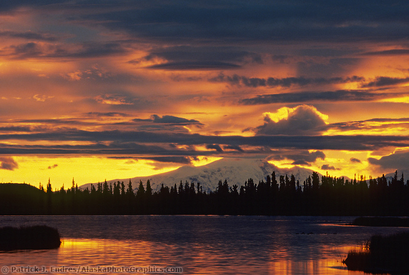 Sunrise over mount Drum of the Wrangell St. Elias National Park and mountain range, Glennallen, Alaska.