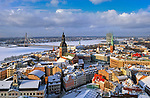Latvia, Old Town with Cathedral, St. Jacob's Church and Daugava River, Riga, Latvia