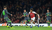 Alex Iwobi of Arsenal & Bruno Gaspar of Sporting CP during the UEFA Europa League group match between Arsenal and Sporting Clube de Portugal at the Emirates Stadium, London, England on 8 November 2018. Photo by Andrew Aleks / PRiME Media Images.<br /> .<br /> (Photograph May Only Be Used For Newspaper And/Or Magazine Editorial Purposes. www.football-dataco.com)