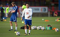 Eden Hazard of Chelsea warms up before the match during the U23 Premier League 2 match between Chelsea and Everton at the EBB Stadium, Aldershot, England on 25 August 2017. Photo by Andy Rowland.