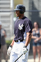 New York Yankees outfielder Justin Maxwell #64 during batting practice before a scrimmage against the USF Bulls at Steinbrenner Field on March 2, 2012 in Tampa, Florida.  New York defeated South Florida 11-0.  (Mike Janes/Four Seam Images)