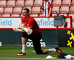 Simon Moore of Sheffield Utd back on the pitch during the Championship match at Bramall Lane, Sheffield. Picture date 26th August 2017. Picture credit should read: Simon Bellis/Sportimage