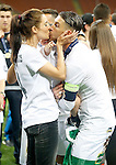 Real Madrid's Sergio Ramos celebrates with his wife, the Spanish actress Pilar Rubio the victory in the UEFA Champions League 2015/2016 Final match.May 28,2016. (ALTERPHOTOS/Acero)