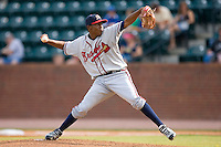 Starting pitcher Julio Teheran #27 of the Danville Braves in action versus the Greeneville Astros at Pioneer Park June 28, 2009 in Greeneville, Tennessee. (Photo by Brian Westerholt / Four Seam Images)