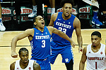 Kentucky Wildcats guard Keldon Johnson (3) reacts to a jam during their game as UK won 71-58 at the KFC Yum Center on Saturday Dec. 29, 2018 in Louisville, Ky.