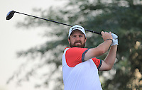Shane Lowry (IRL) on the 18th tee during the preview for the DP World Tour Championship at the Earth course,  Jumeirah Golf Estates in Dubai, UAE,  18/11/2015.<br /> Picture: Golffile | Thos Caffrey<br /> <br /> All photo usage must carry mandatory copyright credit (© Golffile | Thos Caffrey)